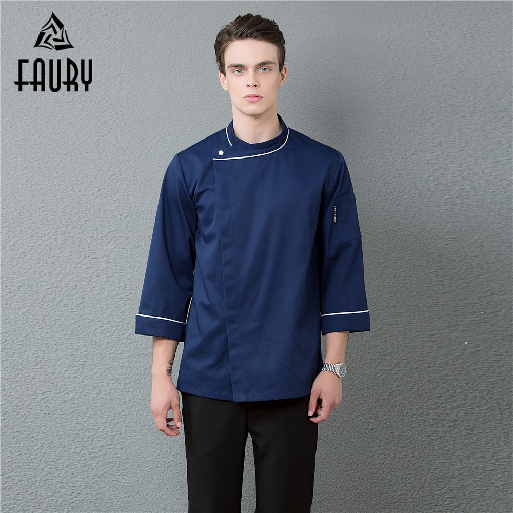 Wholesale Men Restaurant Workwear Long Sleeve Coat Single Button Kitchen Chef Uniform Hotel Waiter Catering Barber Shop Clothing