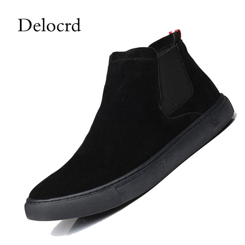 2018 New Winter Men Suede Leather Chelsea Boots No Slip All Match Black Ankle Boots Shoes Rubber Sole Casual Men S цена 2017