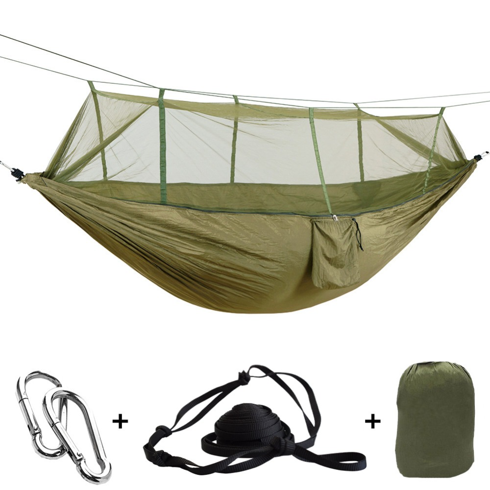 Portable Outdoor Army Green Net Hammock Anti-Mosquito Hamac Parachute Hamak Swing Sleeping Tree Bed Hangmat 2 Persons