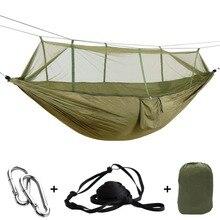 Przenośny odkryty armia zielony Hamak siatkowy anty komar Hamak spadochron Hamak huśtawka spanie drzewo łóżko Hangmat 2 osoby