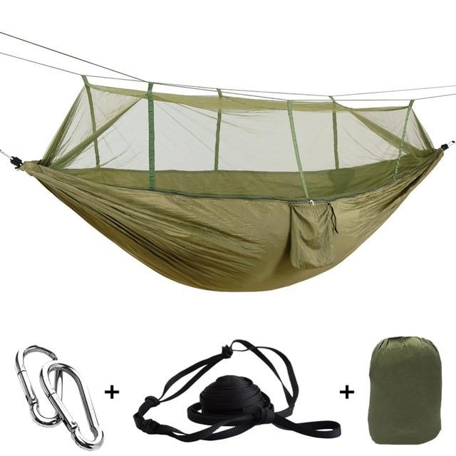 ポータブル屋外アーミーグリーンネットハンモック蚊hamacパラシュートhamakスイング睡眠木ベッドhangmat 2人