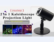 2017 UL LED Movimento 2 em 1 cor Kaleidoscope Projeção stage onda de água Paisagem luz da noite luz do ponto onda vermelha verde aranha