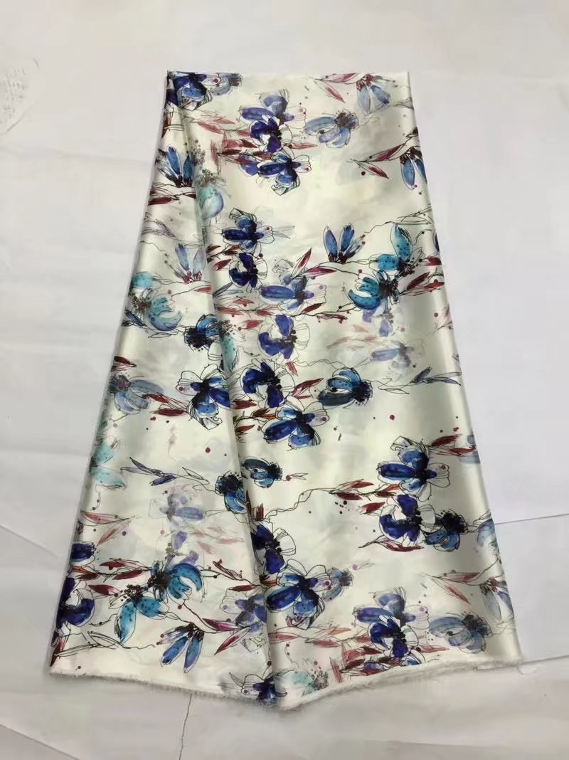 Vincent's fabric boutique Store pure silk  flowers printed soft silk stretch satin fabric for women dress. smoothly nature silk satin fabric tissue 19MM LX0586