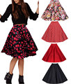 Envío gratis 2015 nuevo gran columpio rockabilly falda negro polka dot print retro vintage rockabilly estilo de la falda del tamaño s-2xl