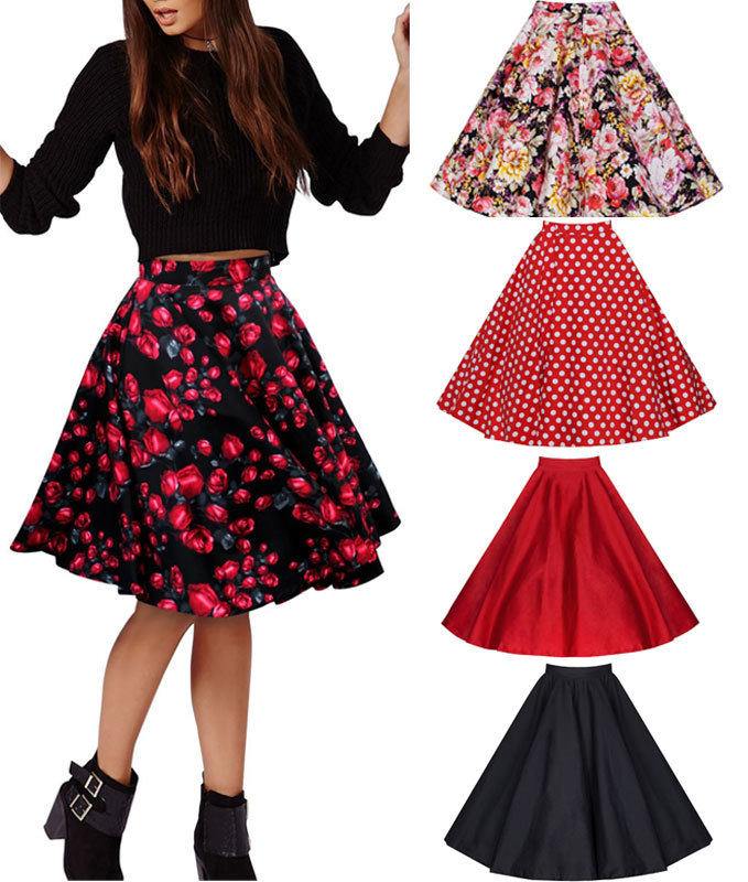 free shipping 2015 new big swing rockabilly skirt black polka dot print retro vintage rockabilly 50's style skirt size s-2xl image