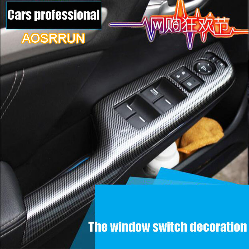 AOSRRUN For Honda Civic 9th carbon fiber interior trim adapted For Civic 8th electric Windows protection stickers The modified