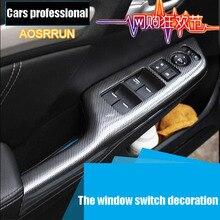 AOSRRUN Para Honda Civic noveno carbon fiber interior ajuste adaptado Para Civic octavo Elevalunas eléctricos de protección pegatinas modificados