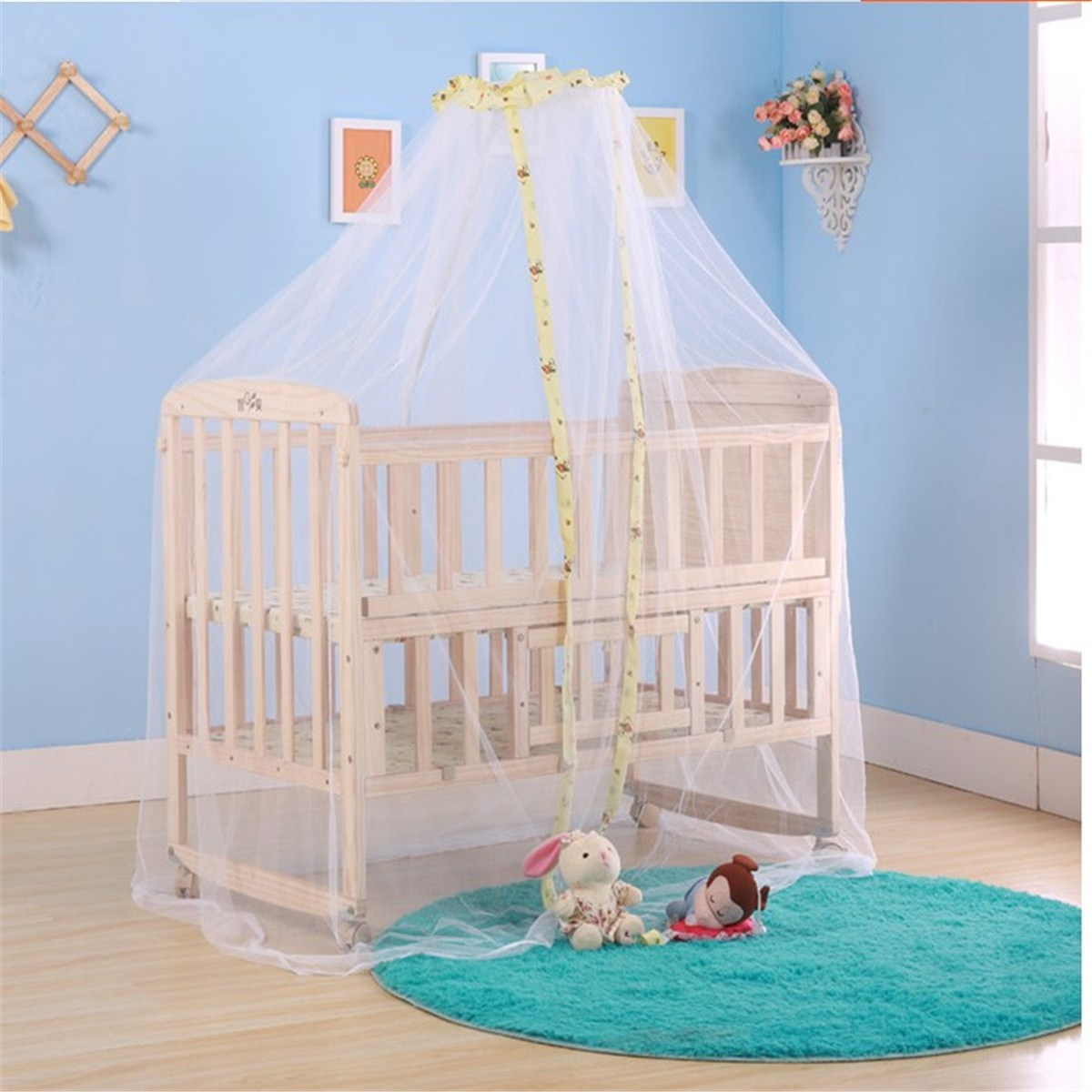 Baby bed accessories - Infant Baby Protect Summer Mosquito Net Newborn Crib Cot Bed Accessories Lovely Design Toddler Favor Durable Blue Yellow