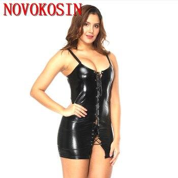 LK35 M-3XL 2018 Plus Size Women Erotic Lingerie Faux Leather Bodycon Fetish Fit Dress Black PVC Front Lace Up Sexy Erotic Dress plus size women in leather
