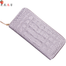 Women Alligator Leather Wallets Crocodile Purse Female Card Holder Luxury Money Dollar Bag Ladies Gold Long Walet Girls Wristlet