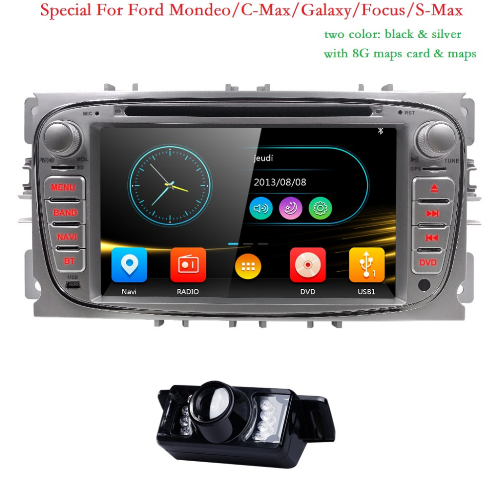 2 Din AutoRadio Car DVD Player For Ford Focus 2 3 C S Max Mondeo Galaxy 2008 2009 2010 2009 2010 Head unit Audio Ipod SWC BT 3G