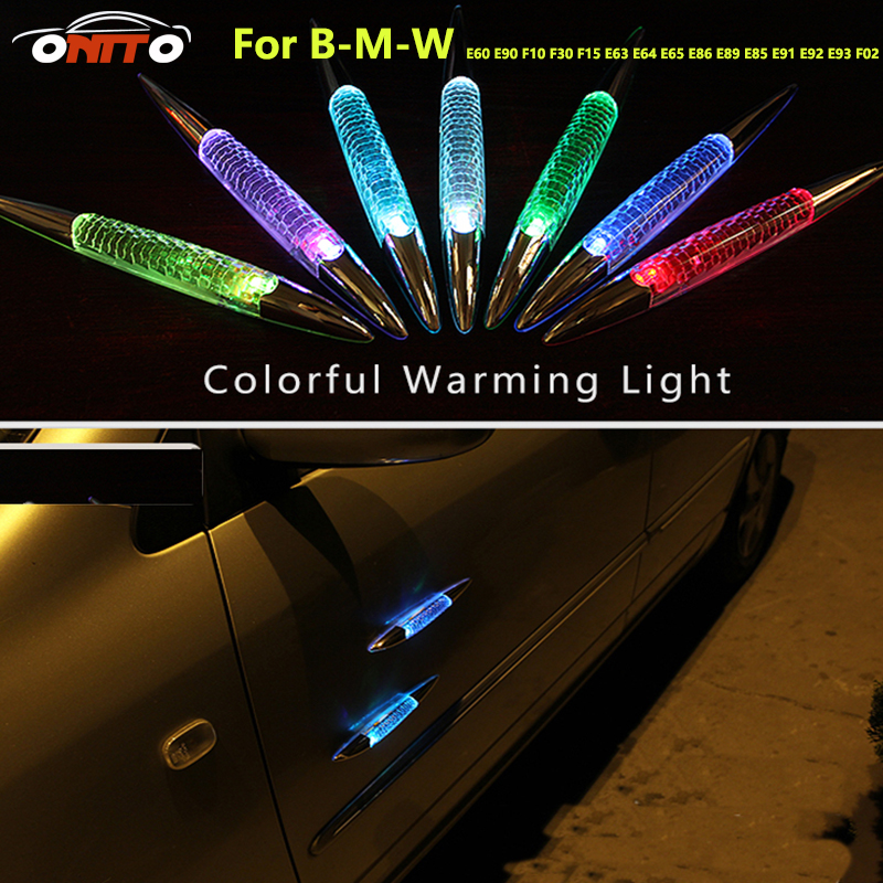 Warning light Colorful car LED light Solar burst flash shark fin anti rub anti collision Lamp door for BMW E60 E90 F10 F30 F15 цена и фото