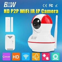 BW Cámara IP P2P HD 720 P Megapíxeles Lente de Vigilancia CCTV IR Cut + Sensor de la puerta + Detector De Gas de Seguridad Libre de IOS y Android, Pad