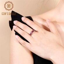 Женское балетное кольцо GEMS, простое однотонное кольцо из родолита и граната 1,84 карат из стерлингового серебра 925 пробы, обручальные кольца, ювелирные украшения