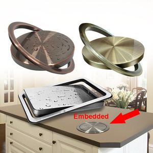 Image 2 - Stainless Steel Flap Flush Recessed Built in Balance Swing Flap Lid Cover Trash Bin Garbage Can Kitchen Counter Top