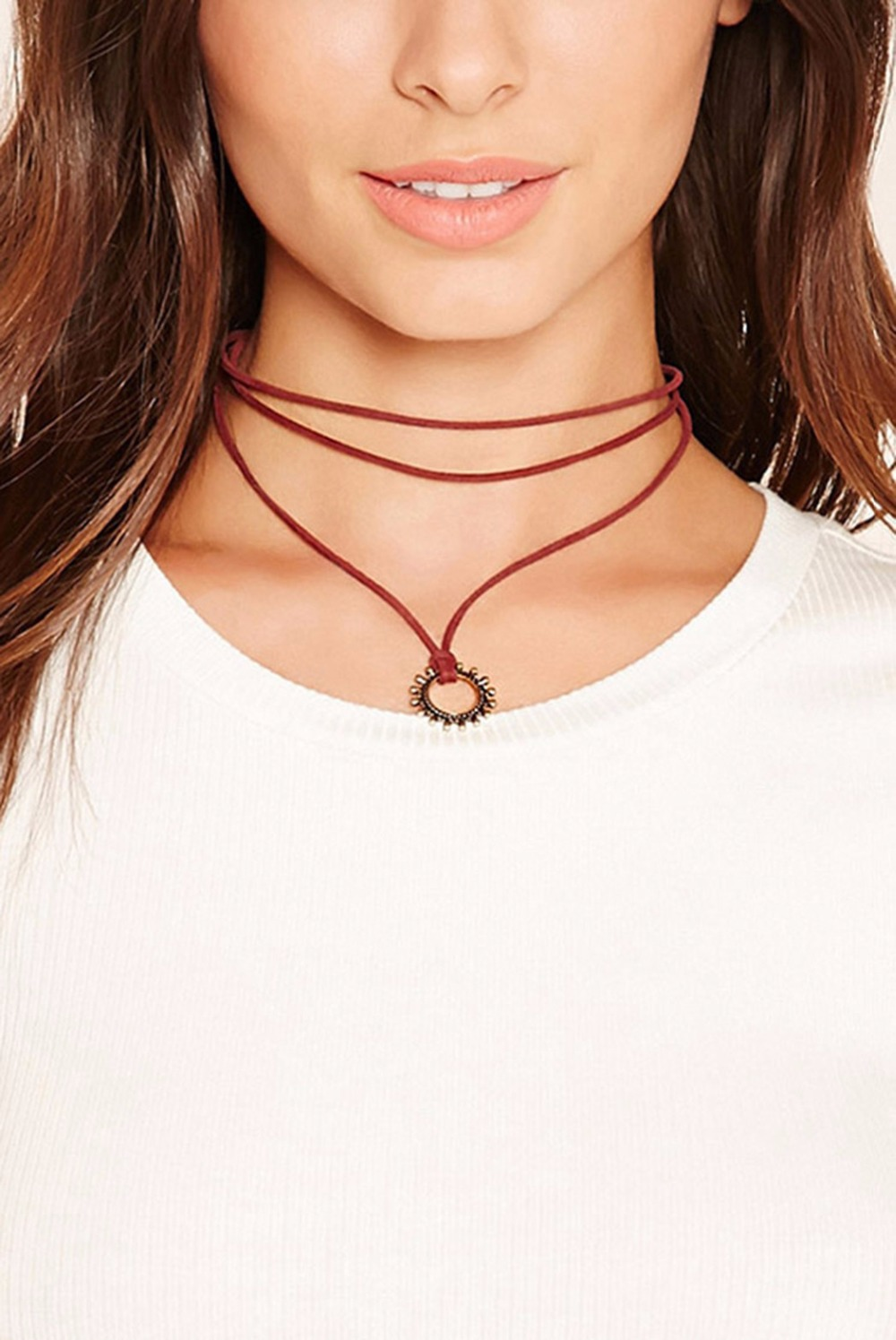 High Quality Bohemian Gypsy Charm Choker Necklace Three Layers Red Leather Chain Fashion Pendant Necklaces For Women Jewelry chain