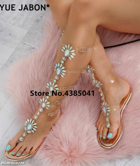Clear PVC transparent Flat Sandals Woman Knee High Rhinestone Gladiator  Sandal Long Boots Bohemia Style Crystal b00e8bc2947f