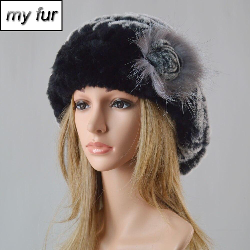 Women Fashion Knit Real Rex Rabbit Fur Hat 100% Natural Real Rex Rabbit Fur Caps Lady Winter Warm Genuine Rex Rabbit Fur Hats