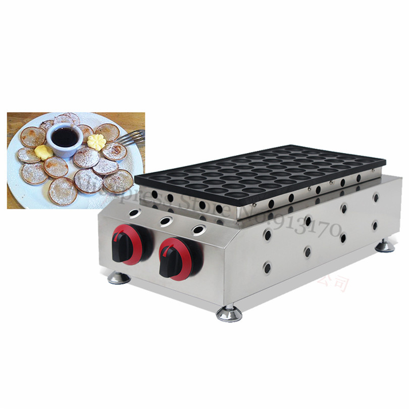 50 Holes Gas Dutch Poffertjes Grill Stainless Steel Mini Pancakes Machine Waffle Baker Nonstick Cooking Surface 25pcs electric mini poffertjes grill machine waffle machine dutch poffertjes pancakes maker machine baker plate