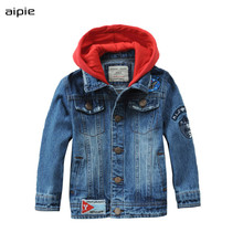 New Childrens Denim Jackets Fashion Hooded Style Cotton Kids boys denim Coats Clothing For 3-10 Years Outwear