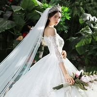 Real Photo Customized Size Appliques Backless Off the shoulder long sleeved Sweep Train Wedding Dress Vestidos De Noiva WD0111
