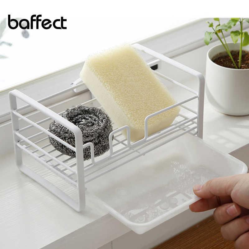 baffect kitchen storeage organizer sponge holder kitchen sink tidy caddy sink area organizer metal sink drainer with tray