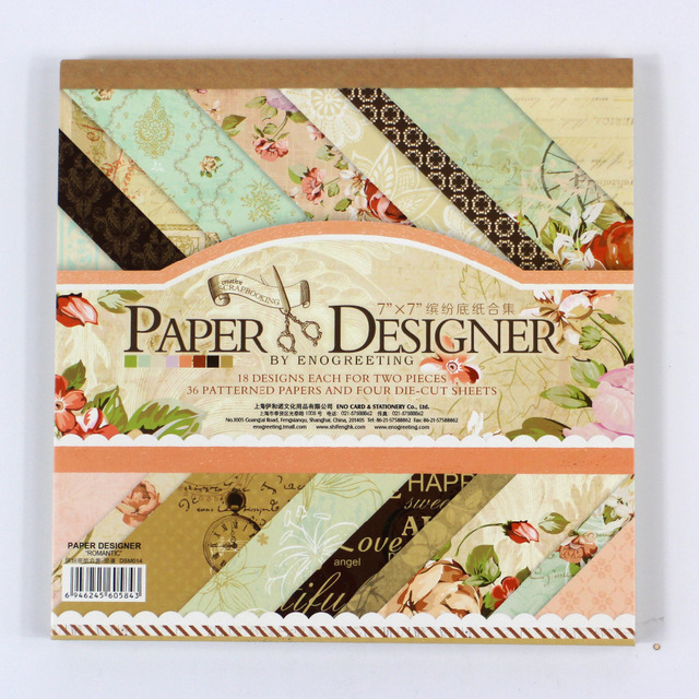 ENOGREETING 7 ''아름다운 DIY 빈티지 꽃 스타일 스크랩북 종이 팩 40 시트 수제 공예 종이 공예 배경 패드
