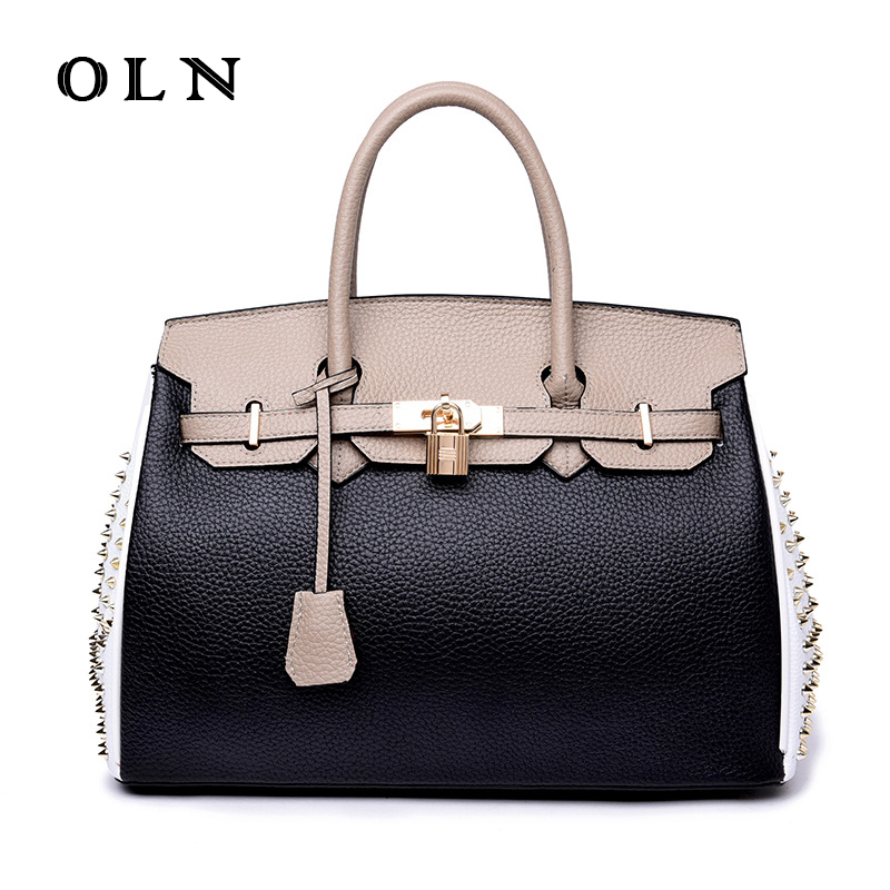 OLN Brand Luxury New Arrivels 2018 Brand Fashion Female Genuine Leather Women Handbags with Rivet Famous Black Casual Tote Bag oln brand 100