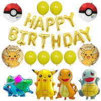 1set Pikachu Pokemon Jenny Turtle Foil Balloons Gold Letter Birthday Party Decoration Cartoon Children's Toys Baby Shower Globos