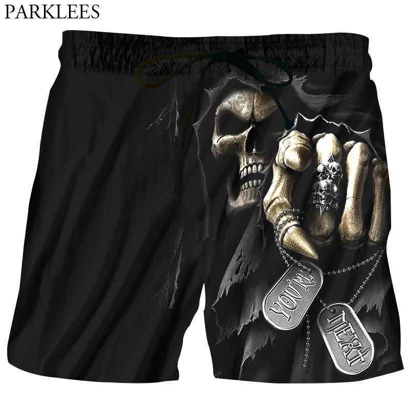 Mens Hipster 3D Beach   Shorts   Fashion Skeleton Zombie Skull Grim Reaper Printed   Board     Shorts   Mens Hip Hop Quick Dry   Shorts   Homme
