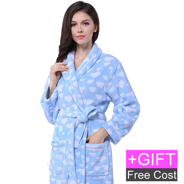 Free shipping Coral Fleece Bathrobe with gift