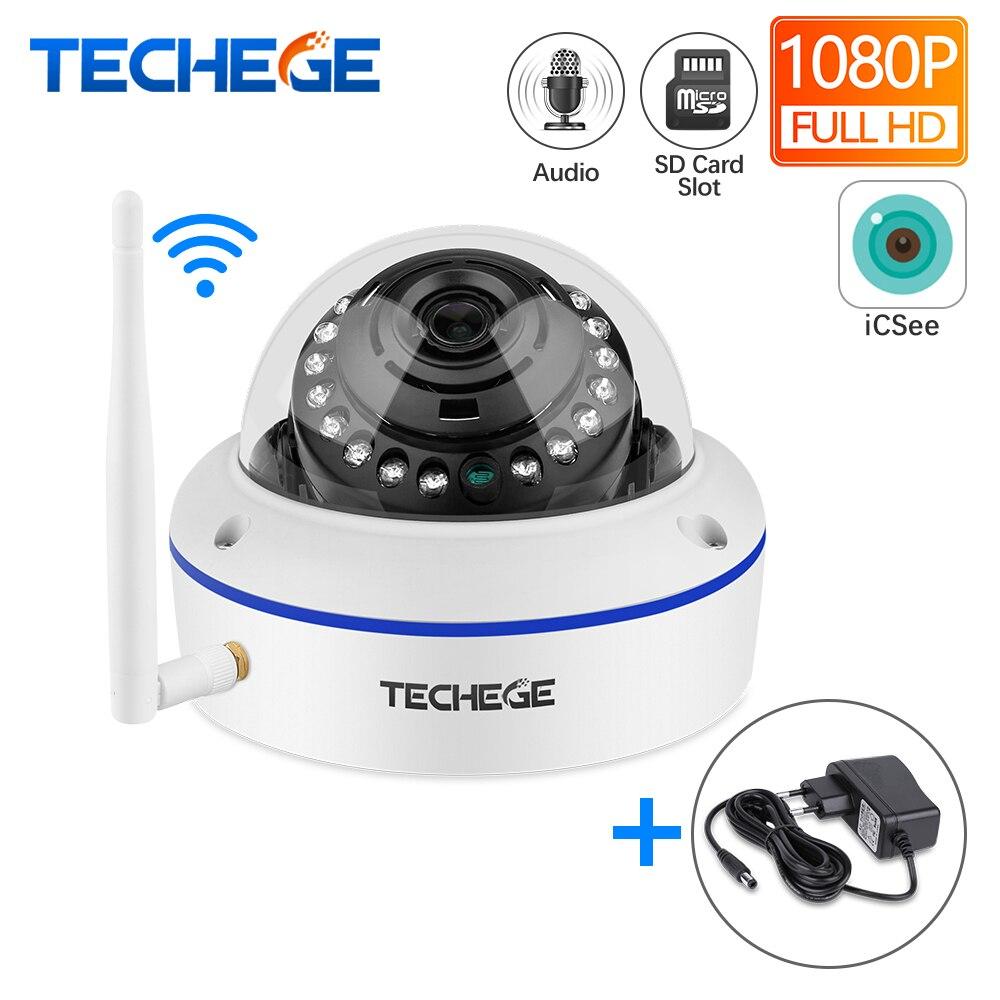 Techege 1080P Wifi Visão Noturna Vandalproof Cúpula Câmera De Áudio Sem Fio Com Fio 2MP CCTV Câmera Slot Para Cartão SD Max 64G Adaptador Livre
