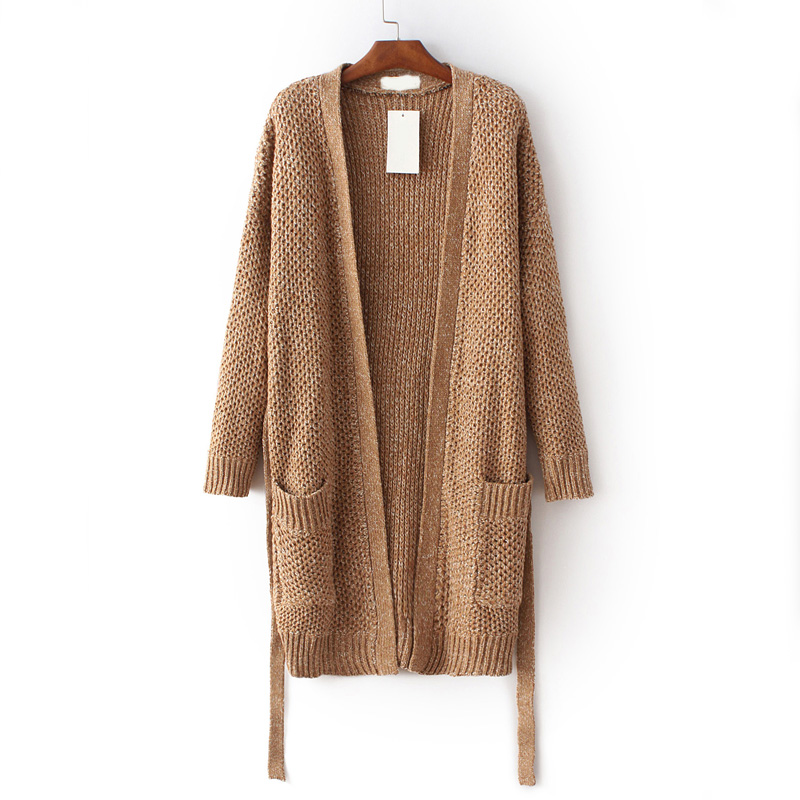 Sexy Brown V neck Pocket Cardigan Sweater Women 2017 Autumn ...
