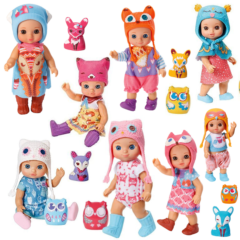 Fashion Action Figure Princess Mini foxes doll toy 12cm Lovely doll For girls toy lovely red ladybug doll toy