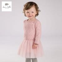 DB3673 Dave Bella Autumn Fall Baby Girl Lace Princess Dress Baby Pink Dress Kids Birthday Clothes