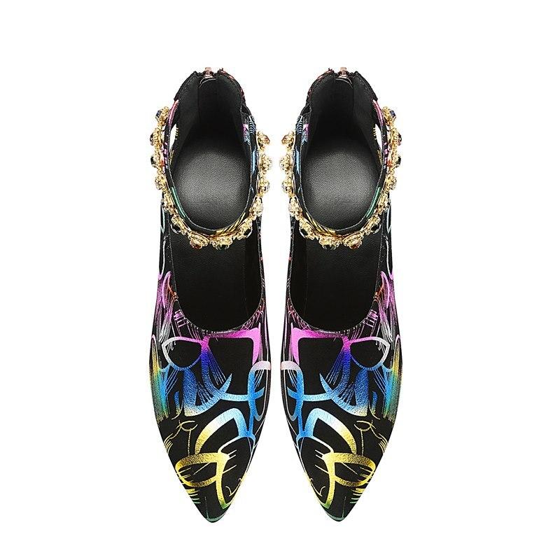 Genuino Mujer Boda De Tacones Yinkoget Impresión Mujeres Piel Moda Oveja Cuero Alto Altos Las Zapatos Tacón 7R7qIPxdw