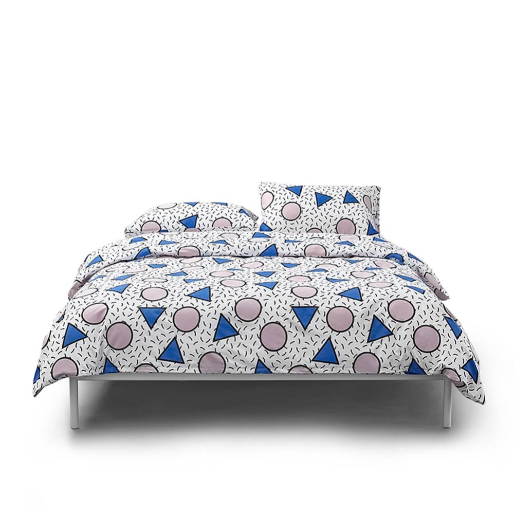 2019 Simple Geometric Blue Pink Bedding Set Duvet Cover 3/4 pcs Twin Queen King Flat Sheet Soft Cotton Bedlinens Pillowcases2019 Simple Geometric Blue Pink Bedding Set Duvet Cover 3/4 pcs Twin Queen King Flat Sheet Soft Cotton Bedlinens Pillowcases
