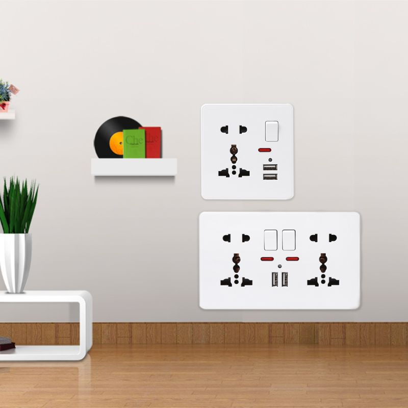 цена на Wall Socket With LED Light Switch 86 Type 5 Holes Double USB White PC Panel