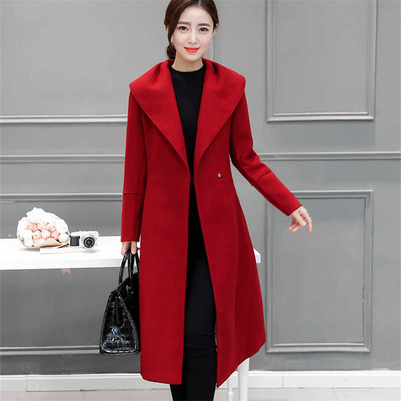 Elegant Wool Long Coat High Quality Korean Style Bow Belt Fashion OL Red Coat 2018