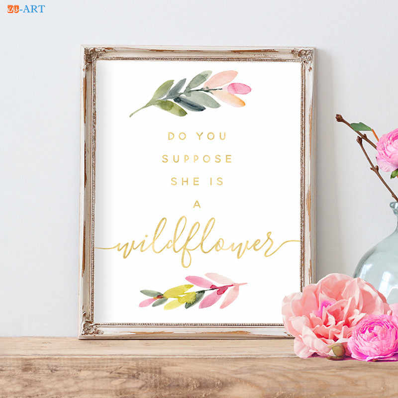 Wildflower Poster Canvas Painting Quotes Prints Whimsical Boho Nursery Wall  Art Girls Room Decor Home Decoration