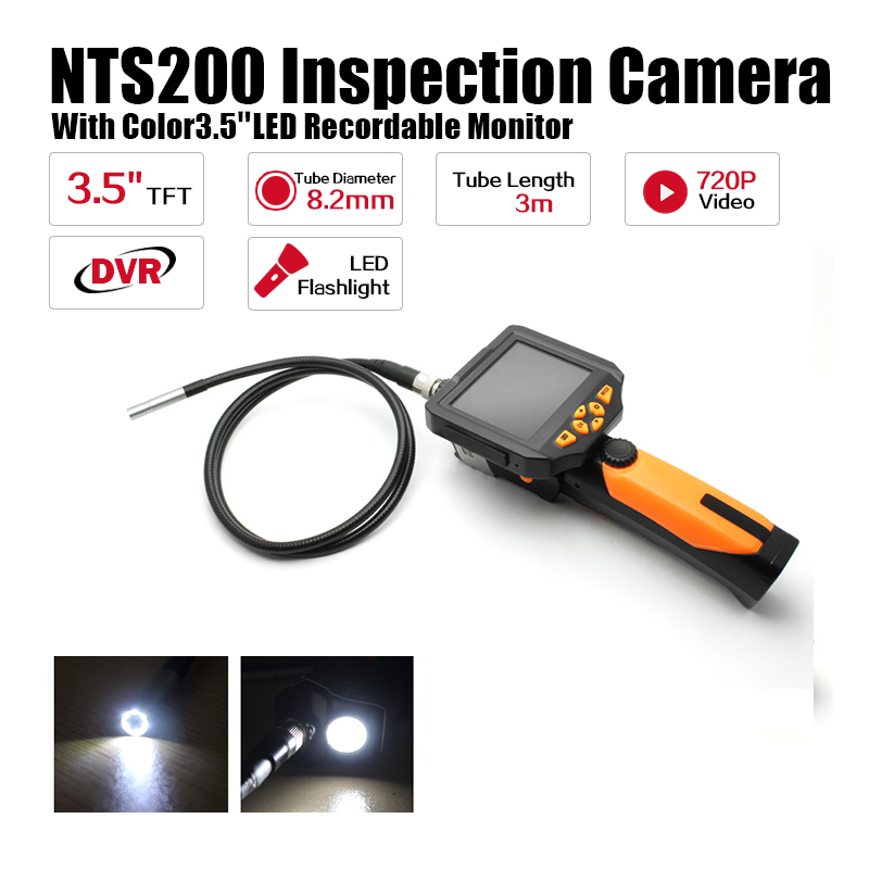 Blueskysea NTS200 Endoscope Inspection Camera 3.5 Inch LCD Monitor 8.2mm Diameter 3 Meters Tube DVR Borescope Zoom Rotate Flip bullet camera tube camera headset holder with varied size in diameter