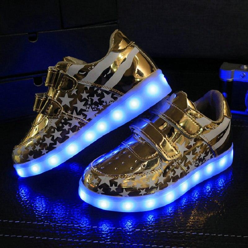 2018 НОВІ Hotsale дитячі кросівки USB зарядка діти світлодіодні світяться взуття хлопчики дівчаток барвисті мигалками кросівки