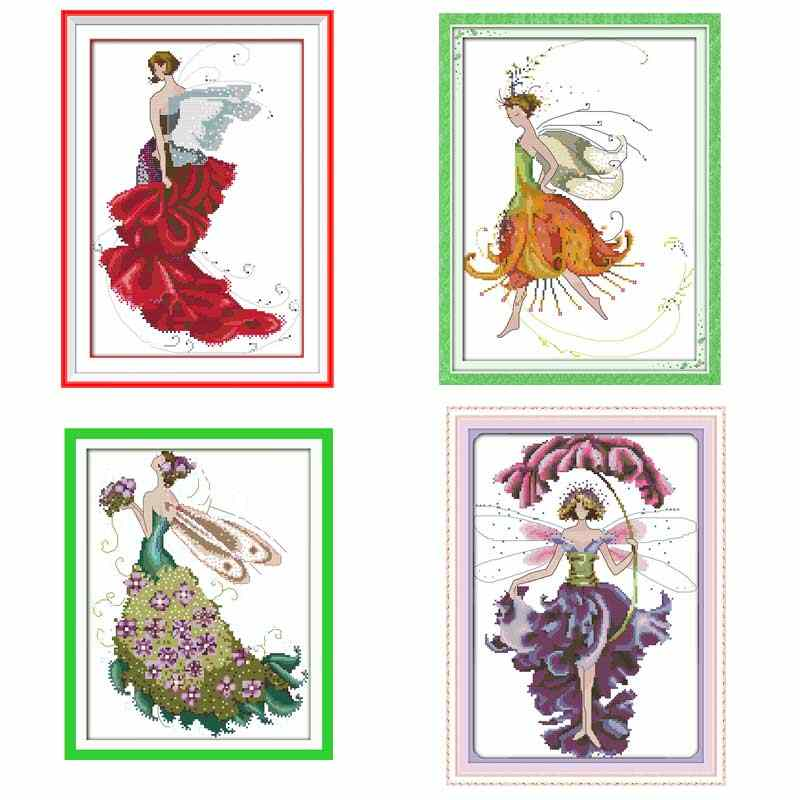 Flower fairy atterns Counted Cross Stitch 11CT 14CT Cross Stitch Set Wholesale Chinese Cross-stitch Kits Embroidery Needlework