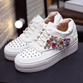Luxury Colored Rhinestone Round Toe Crossed Lace-up Thick Crust Muffin Fashion Loafers White Cowhide All-match Singles Shoes
