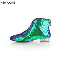 NEMAONE New shiny bling women low heels ankle boots poined toe ladies boots party dress casual shoes woman large size 42 43
