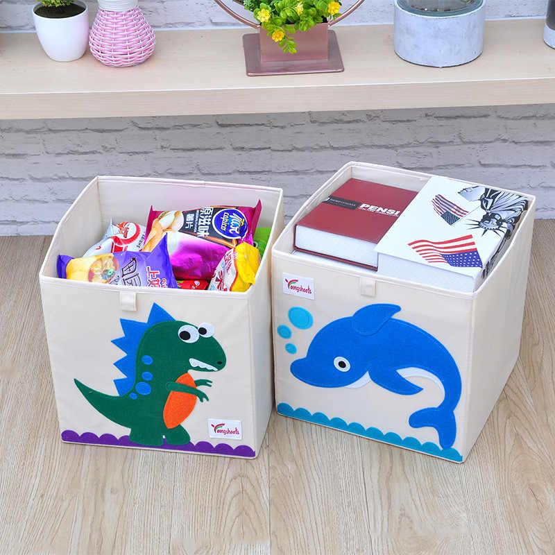 Nova 3D Animal Dos Desenhos Animados Bordado Lavado Oxford Pano Armário de armazenamento Caixa de Armazenamento de Dobramento saco de kid brinquedos organizador 33*33*33 CM caixas