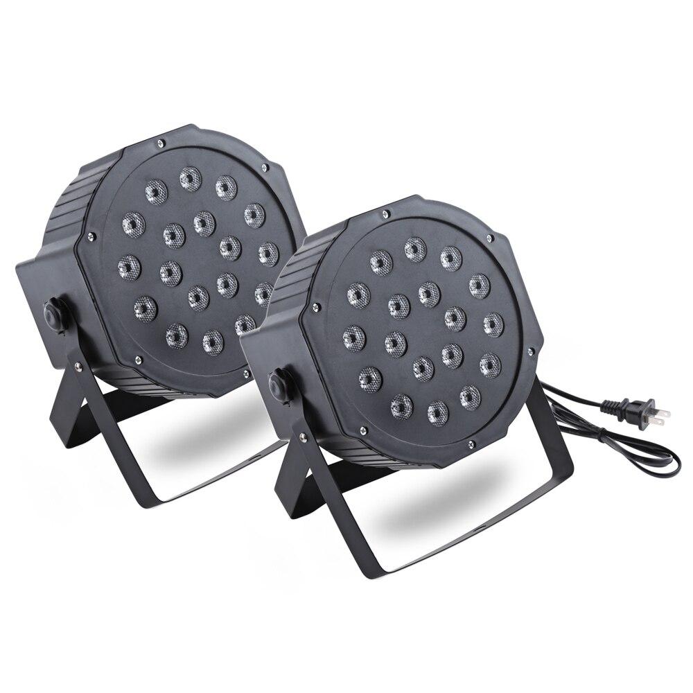 2pcs 18 LEDs Stage Light 18W LED RGB Stage Par Light with DMX-512 Control for Laser Projector Party DJ Disco DMX Lumiere Laser