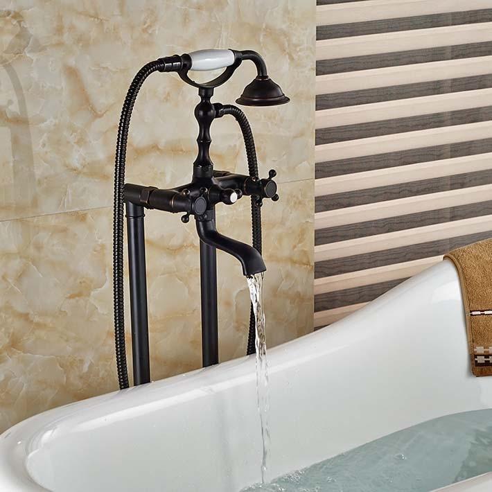 Floor Mounted Bath Tub Faucet Free Standing Bathroom Mixer Tap Oil ...