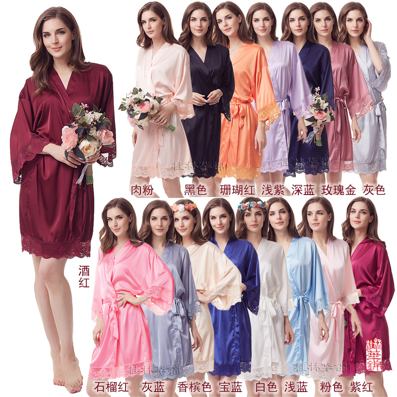 Lace Robe Supper Soft Robes Wedding Bridal Party Gift Robe Silky Lady Night Sleepwear Satin Robe A400C