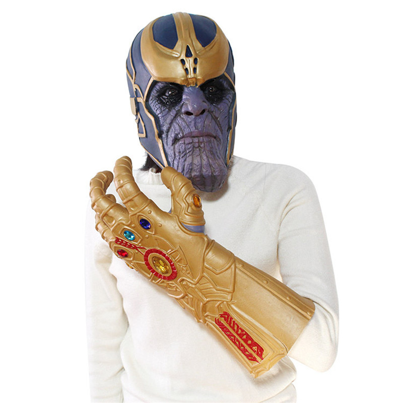 The Avengers 3 Thanos Infinity Gauntlet Cosplay Gloves Prop Halloween Hard Latex Avengers: Infinity War Face Latex  Mask